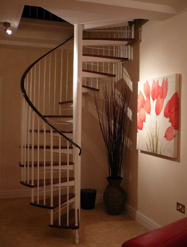 Spiral staircase to Bedroom